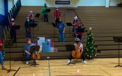 Chamber Orchestra during their socially distanced holiday rehearsal (via @WHSOrchestra214 on Twitter)